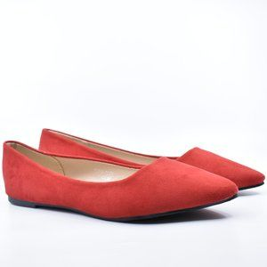 New Red Faux Suede Pointed Pointy Toe Ballet Falts
